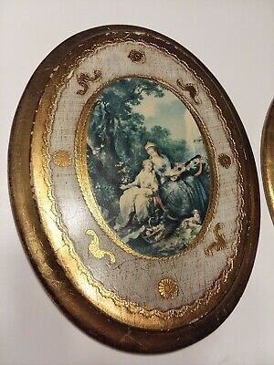 "Pair of Vintage Italian Florentine Tole Oval Gilt Wood Wall Plaque 9"" Tall"