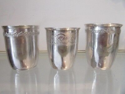early 20th c french 950 & 800 silver minerve 3 beakers small frieze 164g 5,8oz