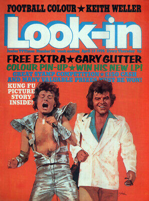 Look-In Magazine 13 Apr 1974 . Gary Glitter Front Cover