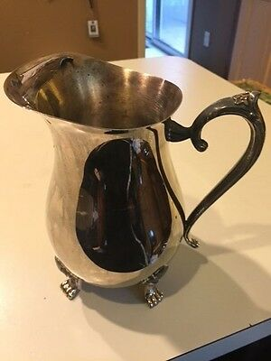 """VINTAGE LEONARD SILVERPLATE FOOTED WATER BEVERAGE PITCHER W/ICE LIP 8-1/2"""" Tall"""