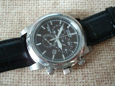 Men's Citizen Eco Drive chronograph brown face stainless black band *VERY NICE!