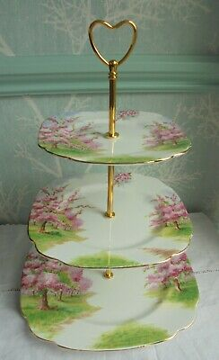 3 tier Royal Albert china cake stand pink Blossom Time