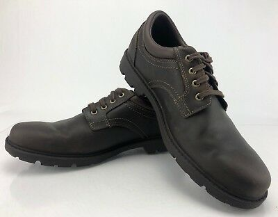 7390f76a6705 Rockport Storm Surge Oxford Brown Leather Plain Toe WaterProof Shoes Mens  Sz 9M