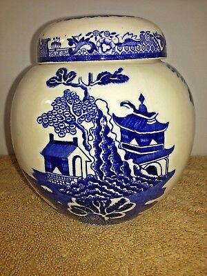 "Hard to Find MASONS White & Blue Willow Ginger Jar Made in England, 4-3/4"" Tall"