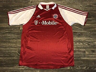 ae50e6258db Adidas Mens Large Red FC Bayern Munchen 2003 T Mobile Soccer Jersey Vintage
