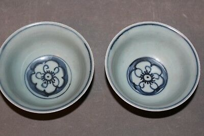 A Fine Pair of Shipwreck Late Ming Swatow Blue and white Bowl Bowls Cup Cups