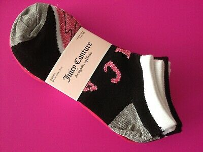 6e0dc77e4ed New JUICY COUTURE PINK BLACK Size Adult 4-10 No Show Ankle Socks Set of