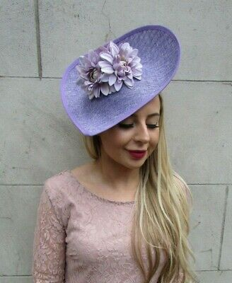 Lilac Lavender Light Purple Flower Large Teardrop Fascinator Hat Headband 7176