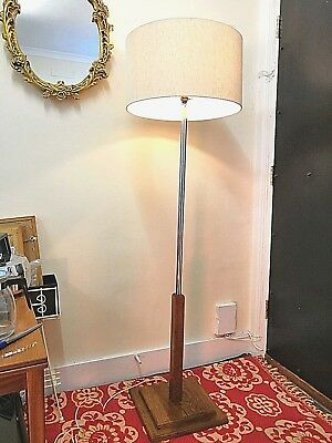 1950's 1960's Retro Chrome Floor Lamp With Solid Wood Base
