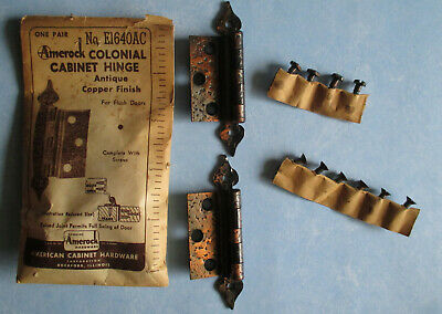 "Vintage cabinet hinges Colonial antique copper finish 3 ¼"" long Amerock E1640 AC"