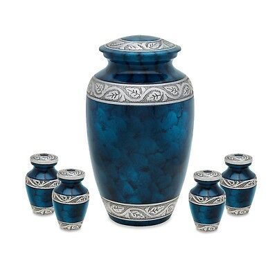 Middleton Blue Adult Cremation urn with Four token set