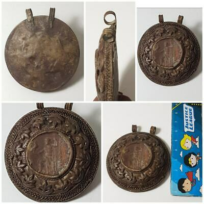 Amyzing old greek bronze coin pendant