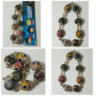 Old mosaic glass beads pure solid silver bracelet