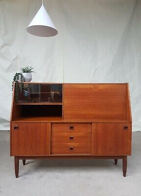 Vtg Mid Century Portwood Teak Highboard Sideboard Danish Design Retro 60s