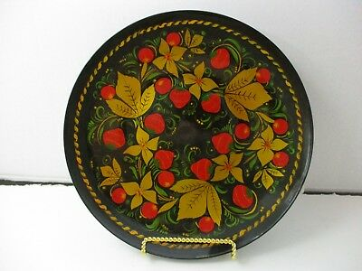Vintage 1980's Russian Khokhloma Folk Art Hand Painted Floral Lacquer Wood Plate