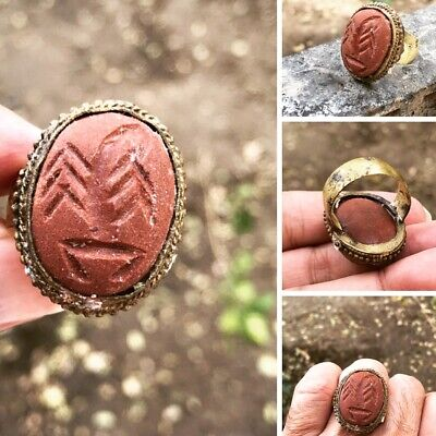Antique خاتم هبهاب روحانيSpiritual Habhab engraved Scorpion on stone Bronze ring