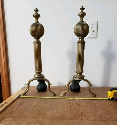 Rare Chippendale Fluted Ball Brass Andirons