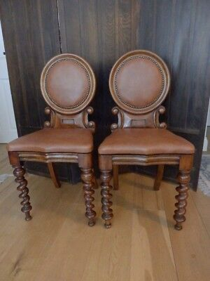 Hall chairs, a pair, mahogany, Victorian, antique
