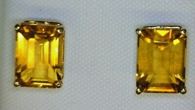 67fbbdf64db78 3CT LADIES LARGE Emerald Cut Citrine Stud Earrings 14K Yellow Gold 6x8mm  3ctw