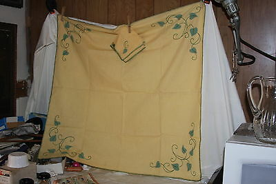 Vintage Embroidery Card Tablecloth Napkins C Monogram Climbing Ivy Yellow Green