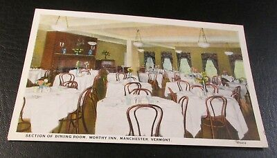 Old Postcard<MANCHESTER , VERMONT>{THE WORTHY INN DINING ROOM}
