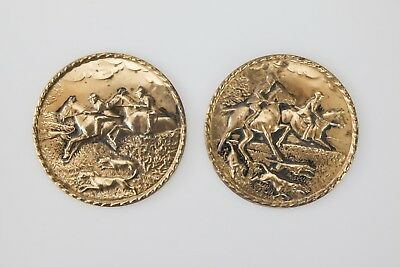 Set of 2 English Hammered Brass Embossed Equestrian Horses Hunting Wall Plates