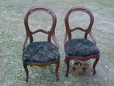 PAIR 1860's WALNUT VICTORIAN BALLOON BACK CHAIRS Finger Carved NICE orig FINISH