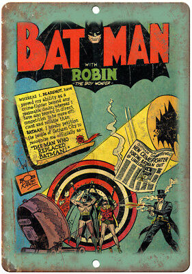 """Bat Man With Robin the boy Wonder Comic Cover 10""""x7"""" Reproduction Metal Sign J15"""
