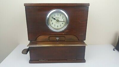 Vintage National Time Recorder Co Ltd Table Top Clocking In Clock - With Keys
