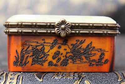 Collection A Antique Boxwood Inlay Jade Hand Carve Carriage Delicate Jewelry box