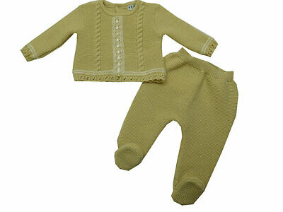 Baby Knit Set Brown Colour. Size 6 Months. Made in Portugal.