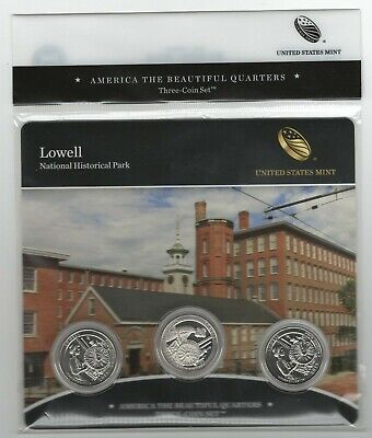 New BU 2019 Lowell National Historical Park PDS mints ATB 3-coin set quarters