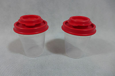 Tupperware Midget Salt And Pepper Shakers Clear With Red Seals New Free Gift