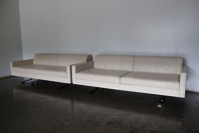 """Rare Immaculate Pair of Poltrona Frau """"Kennedee"""" 2-Seat Sofas in """"Panna 51"""" P..."""