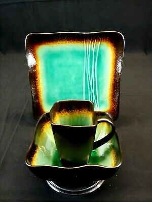 BAUM Galaxy Jade Dinnerware, 3 piece set, New Never Used, Brown/ Jade