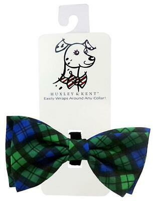 a40b4498f7c6 NEW Green Blue Blackwatch Plaid Dog Bow Tie Collar Attachment by Huxley &  Kent