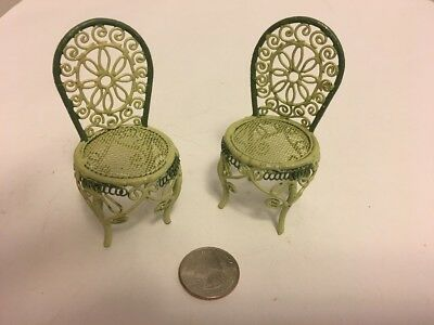 Vintage Doll House Miniature Two Ornate Outdoor Metal Chairs In Green