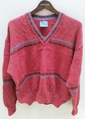 VINTAGE Mens LIMNOS 100% Wool Jumper Size M Grandpa Retro Hipster Made in Aust!