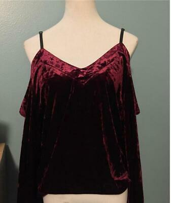 NWT-Romeo-&-Juliet-Couture-LGE-Cold-Shoulder-Crop-Top-Velvet-MAROON/RED