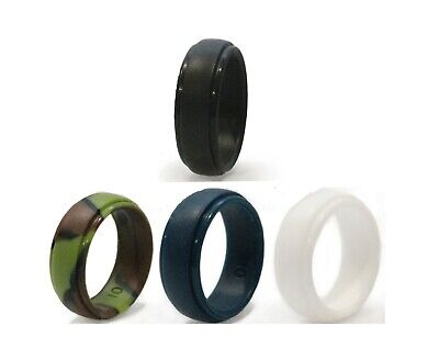 Flexible Silicone Rubber Wedding Rings for Men 4 pack Black Blue Camo White