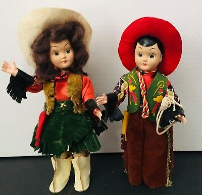 """Pair Of 1940's Vintage Plastic Cowboy & Cowgirl Dolls Fantastic Clothes 7""""Tall"""