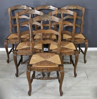 Set of six antique French provincial vintage oak and rush dining chairs
