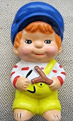 VINTAGE Smiling Red-Head BOY with Sling Bank Ceramic Figure Statue Nursery Decor