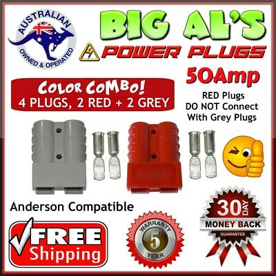 4 X 50Amp Anderson Compatible Power Plug Connector 2 GREY & 2 RED DC 12v 24v