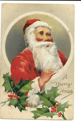 Antique Vintage 1912 Embossed Christmas Postcard Santa Claus Holly Germany