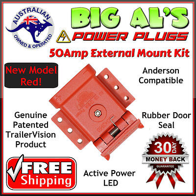 **RED** 50Amp Anderson Plug External Mounting Mount Kit Bracket Dust Cap System