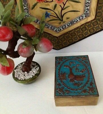 "Antique Chinese Brass & Copper Turquoise Enameled Table Box 4.25"" x 3.25""x 1.4"""