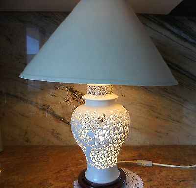 Rare Vintage Asian Blanc de Chine White Lattice Cherry Blossom Porcelain Lamp