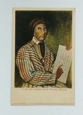 Sequoyah Inventor of Cherokee Alphabet Postcard Ft Smith Arkansas WH Cole Drug