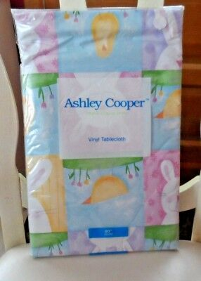 """Easter tablecloth 100% vinyl w/ bunnies, peeps  60"""" round by Ashley Cooper"""